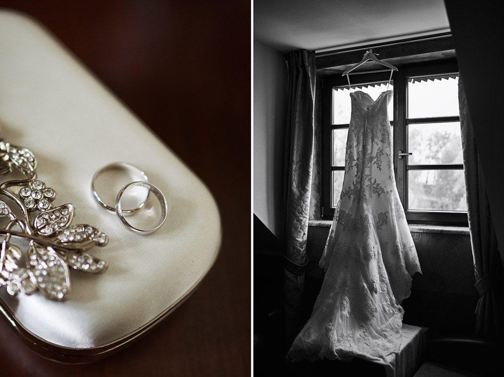 zdjęcia ślubne - dyptyk - obrączki oraz suknia ślubna