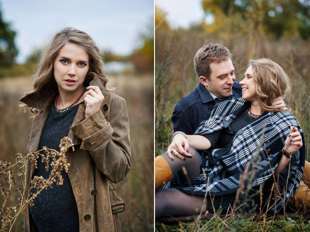 fotografia ciążowa i rodzinna - zdjęcia pary podczas spaceru jesienią- dypytk